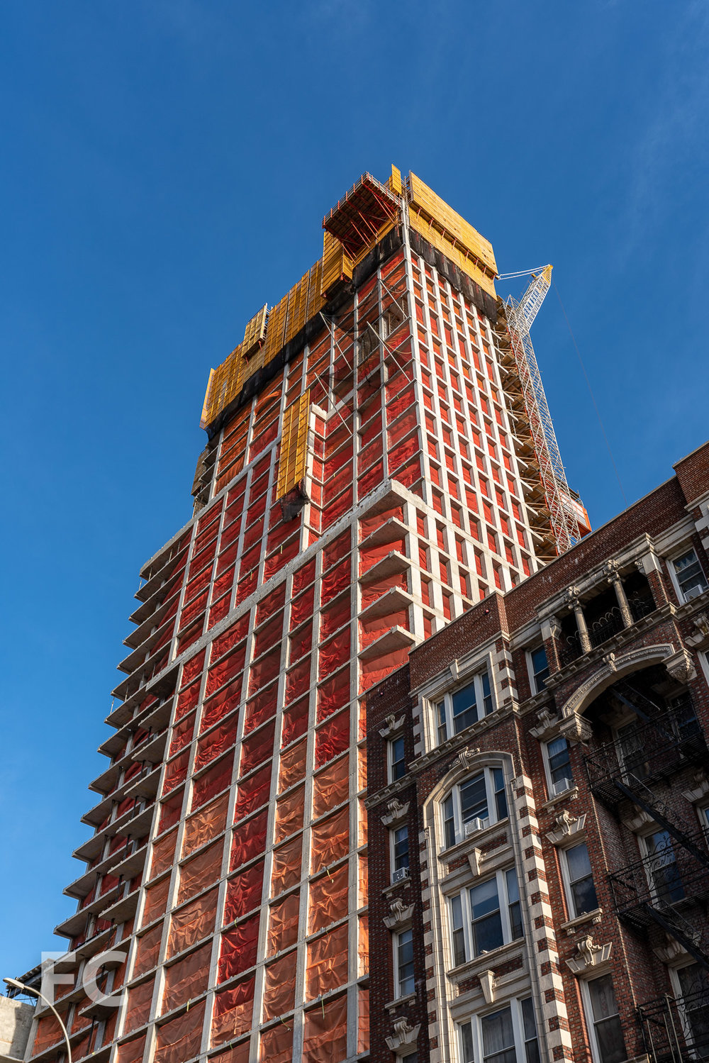 Looking up at the southeast corner from West 122nd Street.
