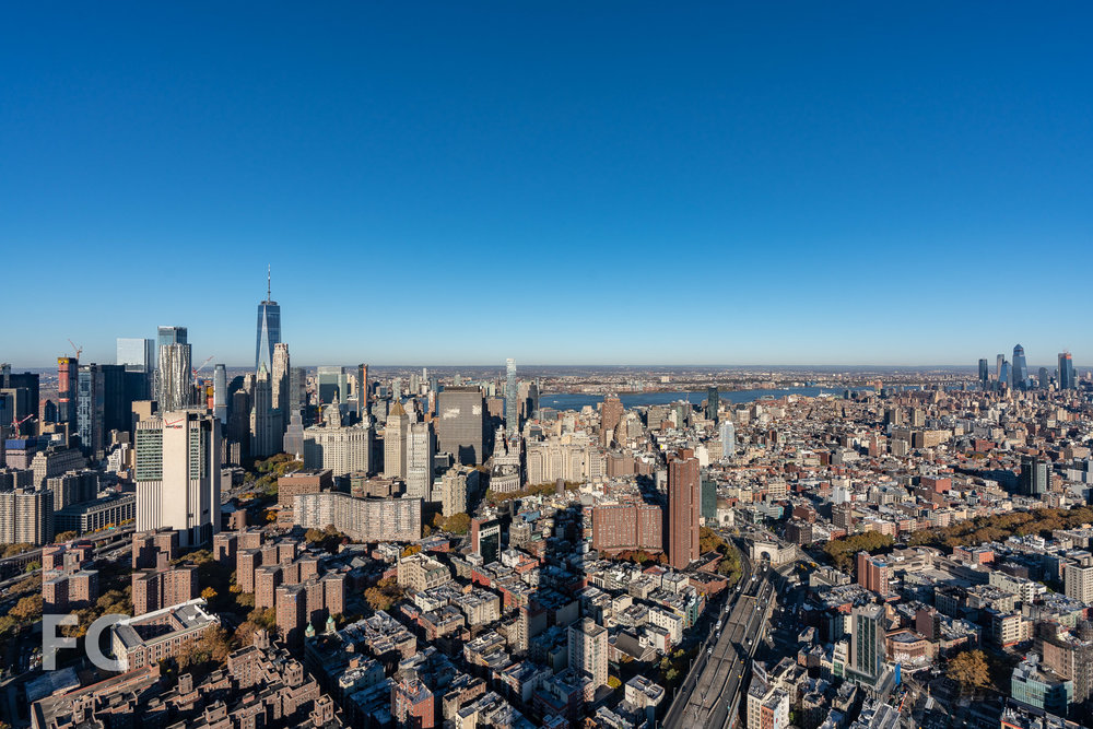 View northwest towards the Financial District (left) and Hudson Yards (right) from the rooftop terrace.