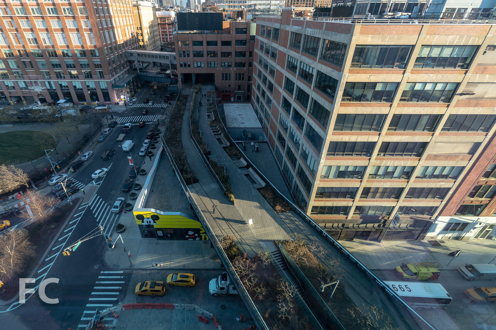 Looking down on the High Line.