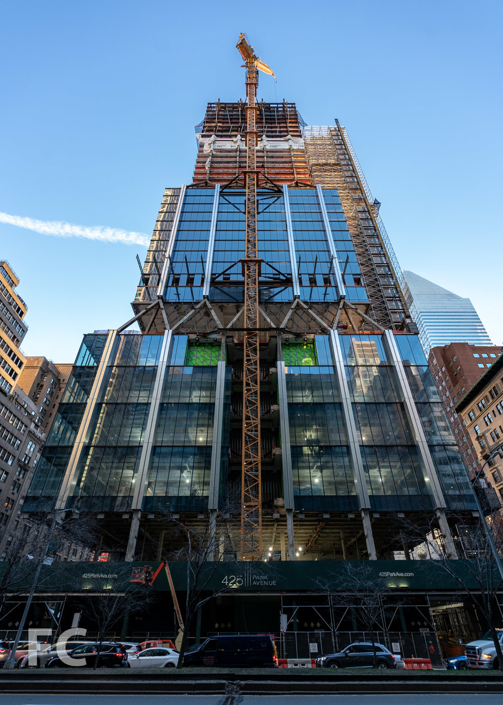 Looking up at the west facade from Park Avenue.