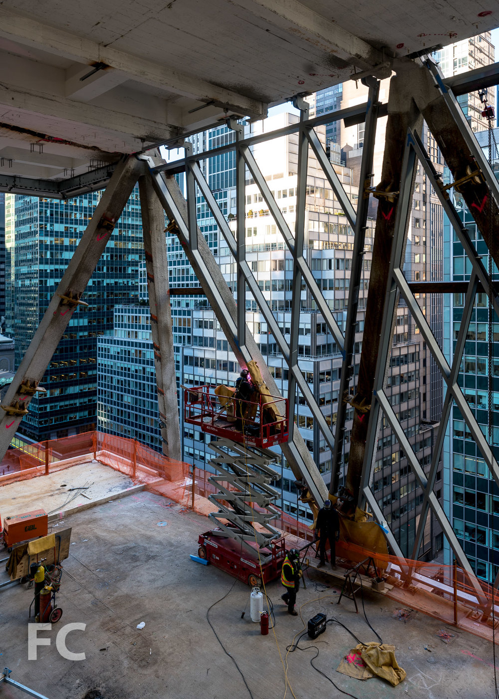 Looking southwest from the mezzanine of the first setback on floor 14.