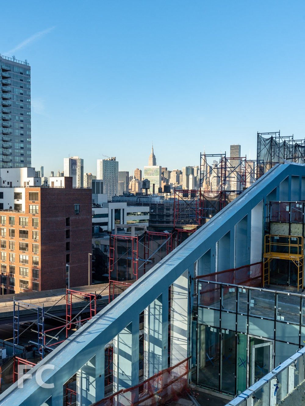 View of the Manhattan skyline from a private terrace.