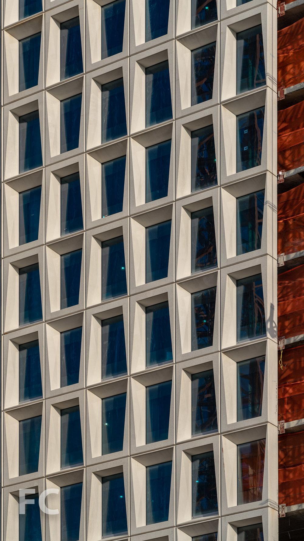 Closeup of the facade panels
