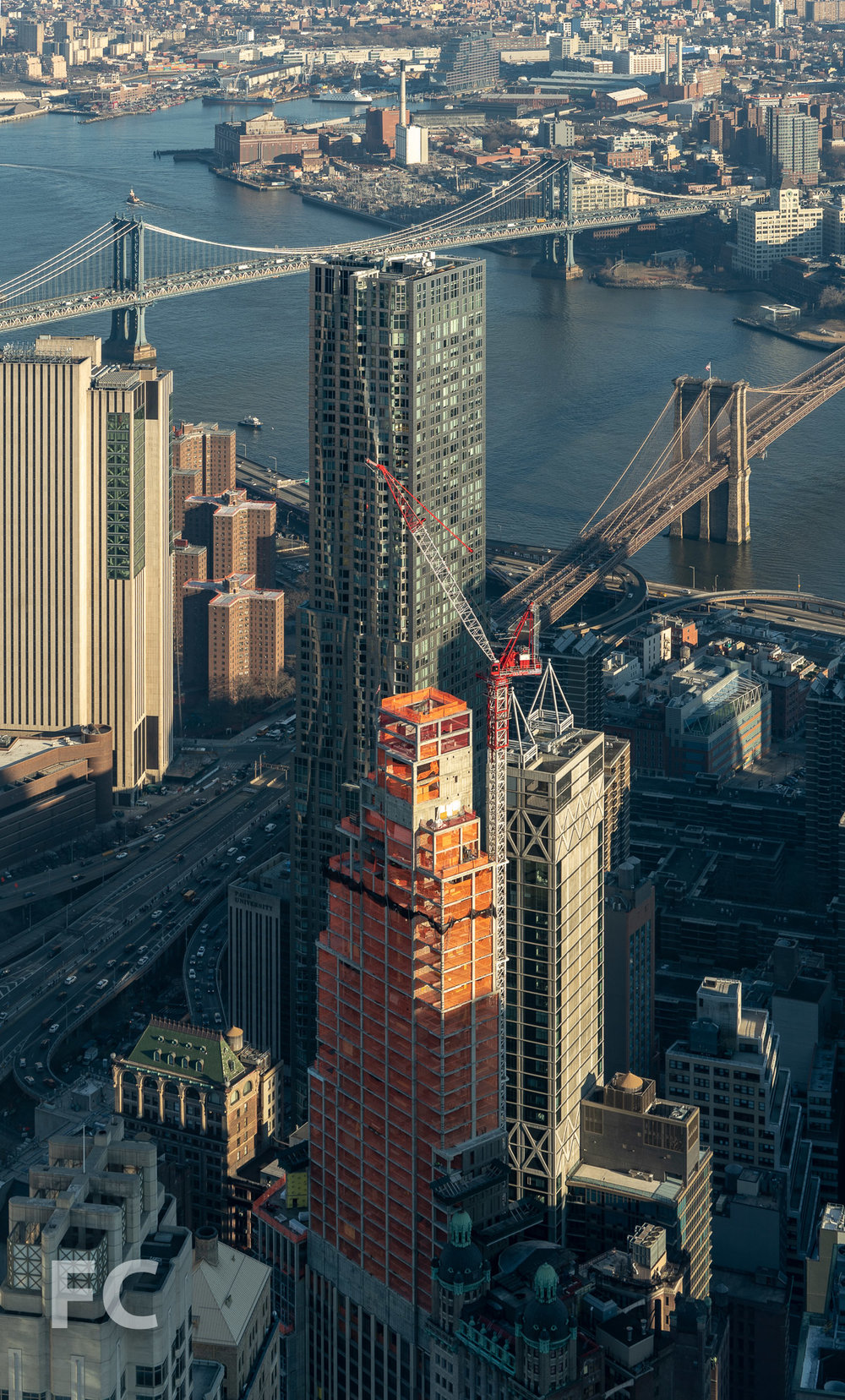 Northwest corner of the tower rising in the Financial District.