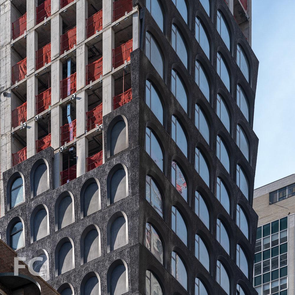 Closeup of the facade panels on the northeast corner.