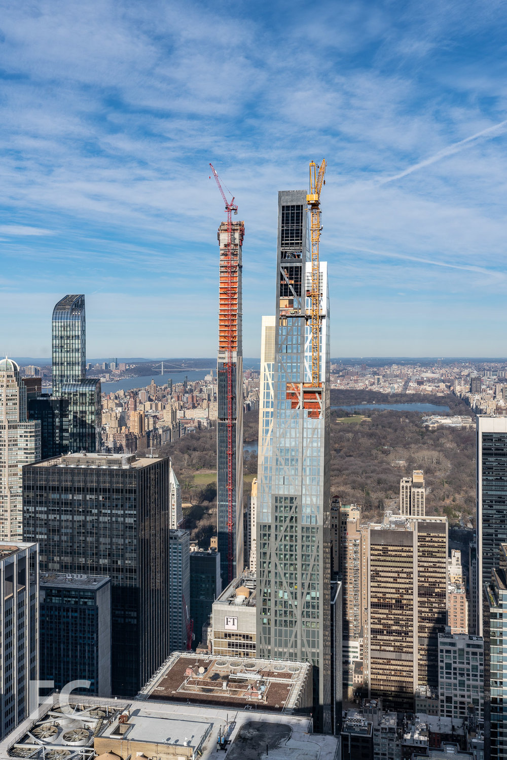 South facade of 53 W 53 (right) and 111 W 57 (left) rising in Midtown.