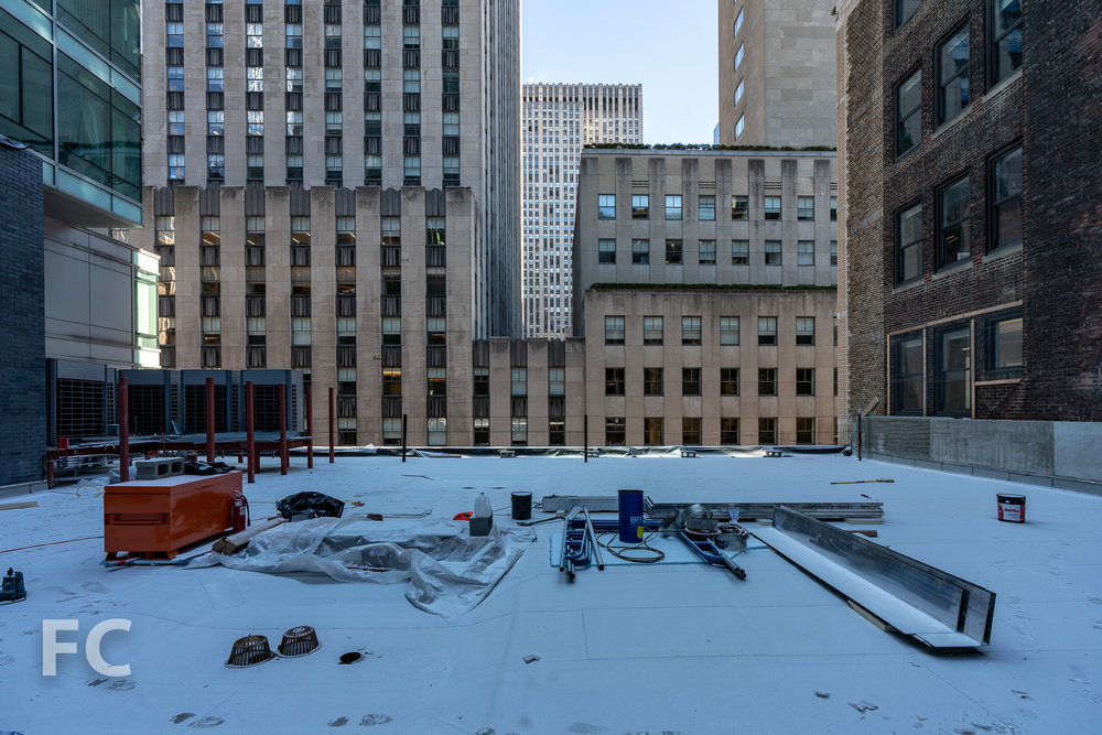 Future rooftop terrace at the fifth floor.