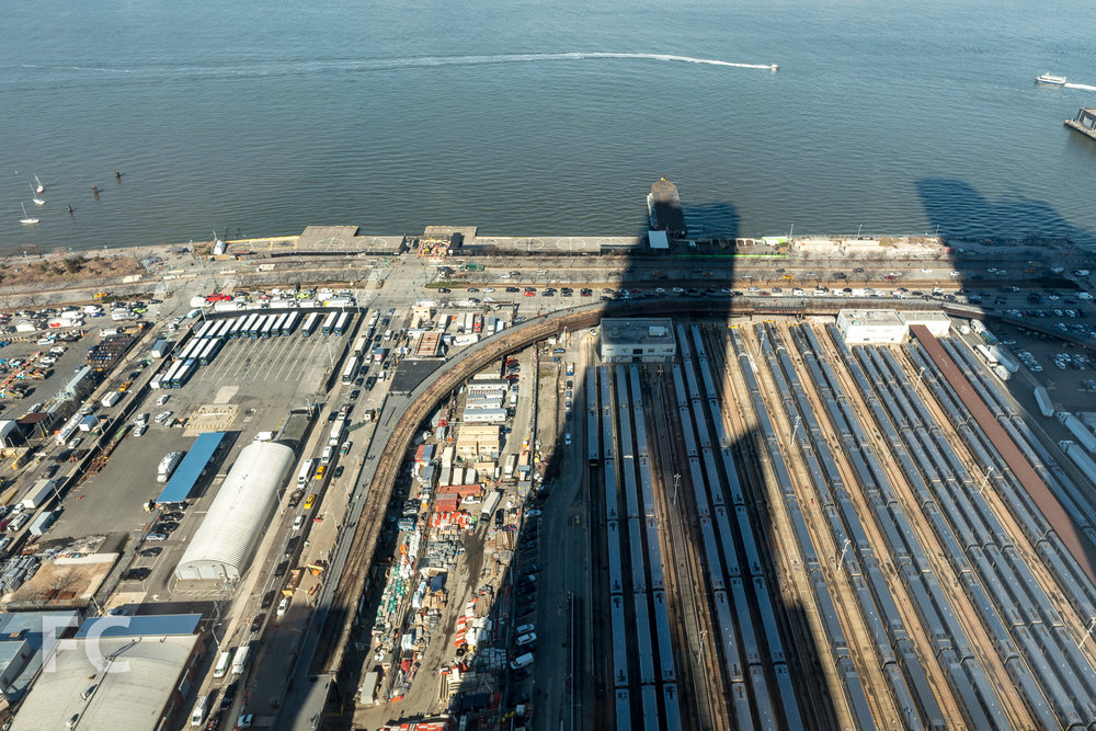 Looking down on the site of Hudson Yards phase two at the western rail yards from 15 Hudson Yards.