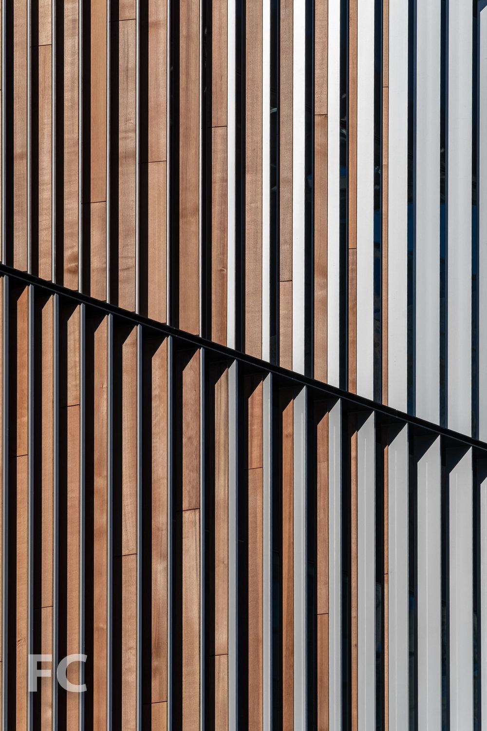 Closeup of the south facade of the Executive Education Center.