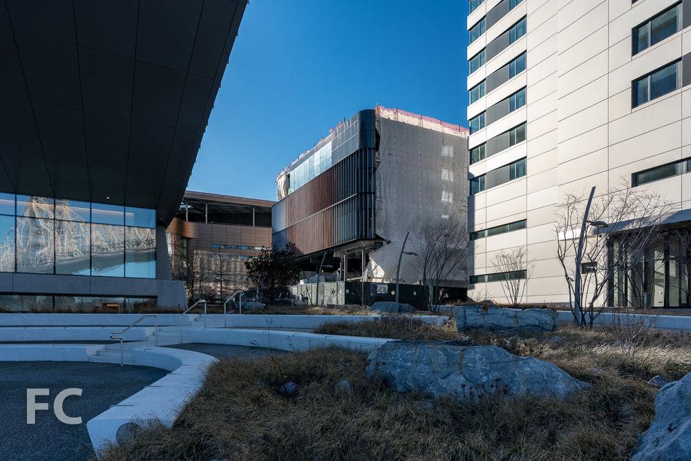 Southeast corner of the Executive Education Center.