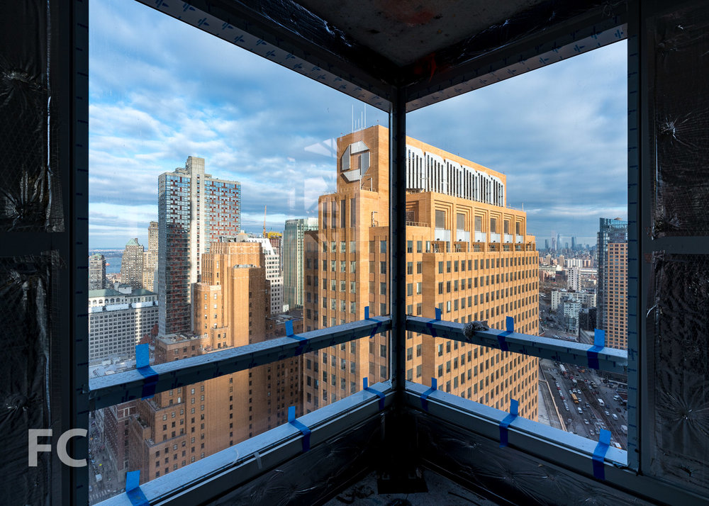 Downtown Brooklyn seen from a lower floor with curtain wall installed.