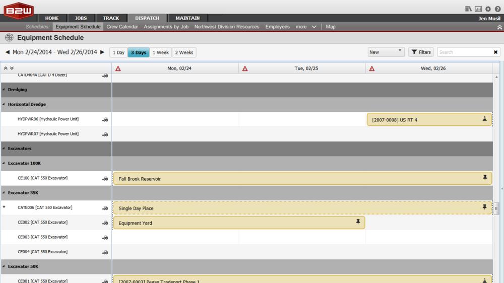 Schedule Mockup Screens (Web)