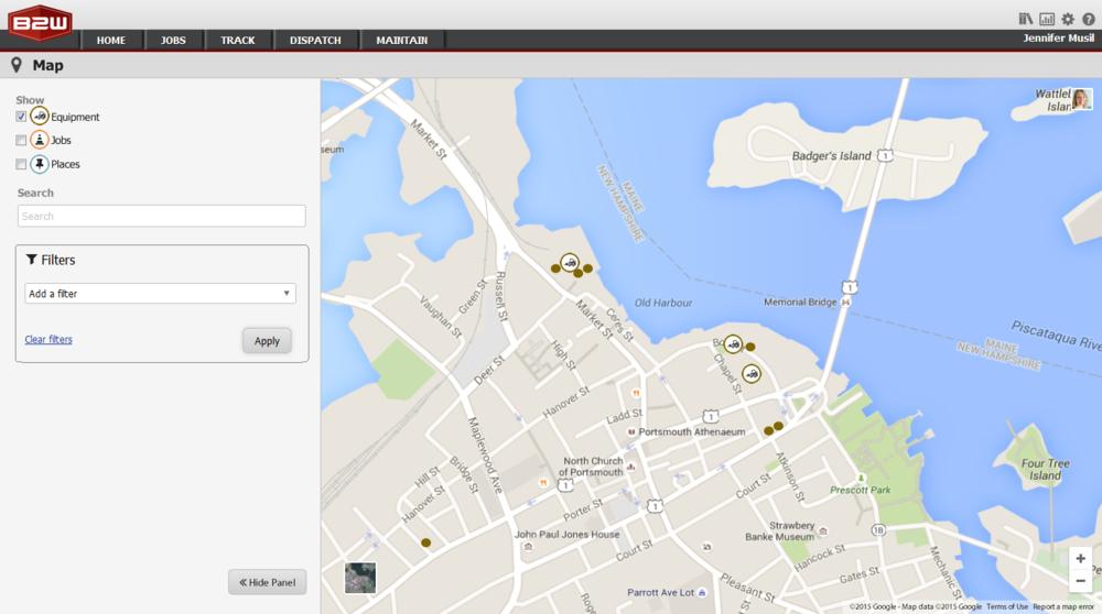 Map View Mockup Screens (Web)