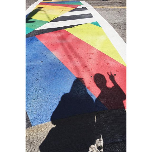 With the help of a happy crosswalk, I'm trying to wake up from my Insta feed coma. 😬 🌈 #pride