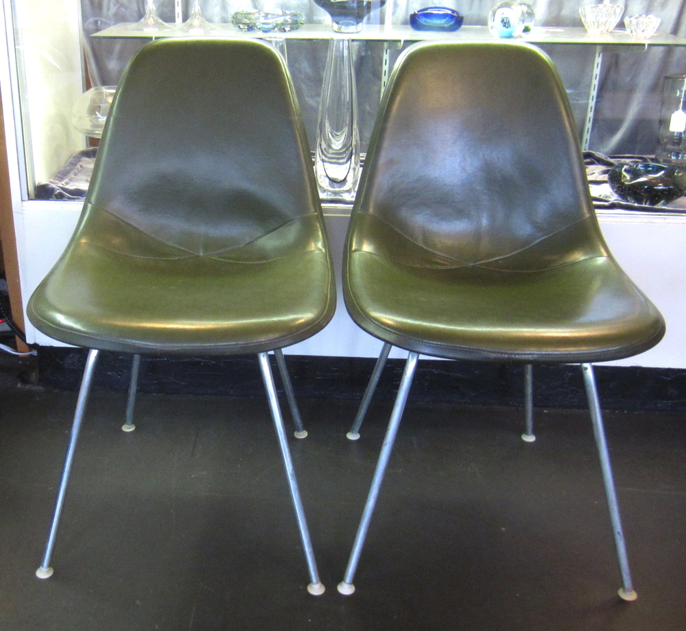 SOLD!   Pair Of Eames For Herman Miller Padded Side Shell Chairs