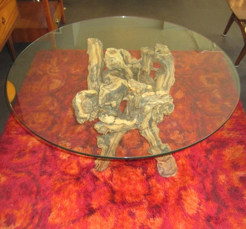 SOLD Coffee Table With Ancient Grapevine Base Loisel Vintage Modern - Grapevine coffee table