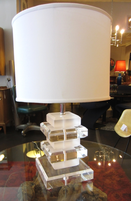 Sold Heavy Vintage Stacked Lucite Table Lamp Loisel Vintage Modern