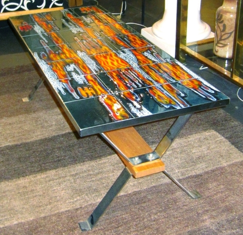 sold! - french mid-century modern tile-top coffee table — loisel