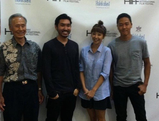 #ihearthiff because as a budding teenage cinephile @hiffhawaii opened my mind to the mysterious world of asia-pacific cinema, forever changing how i viewed the form, convincing me that i wanted to be a part of this ongoing cinematic conversation. through filmmaking, i've made friendships to last a lifetime. here is me and the cast of obake at our HIFF premiere: samuel suzuki (RIP 🙏🏽), @aly_ishikuni_sasaki, @michaeltanji