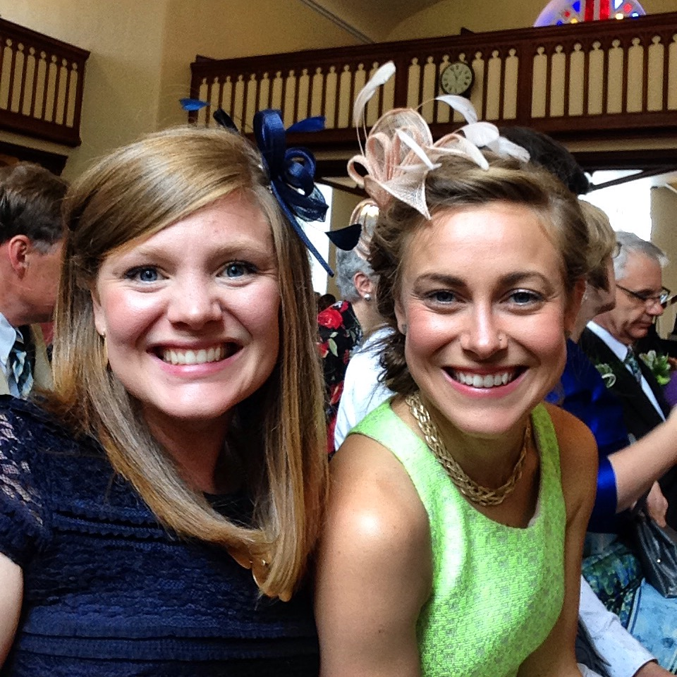 "waiting for our little bro to say ""i do"" - we were both so psyched to wear these fascinators."