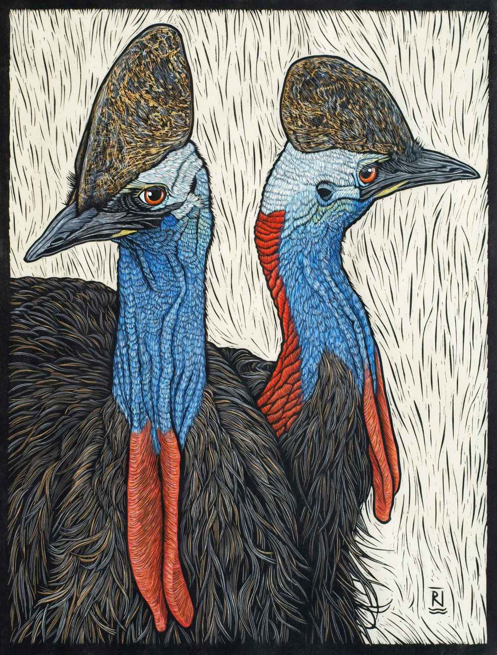 CASSOWARY 57 X 43 CM    EDITION OF 50 HAND COLOURED LINOCUT ON HANDMADE JAPANESE PAPER $1,250