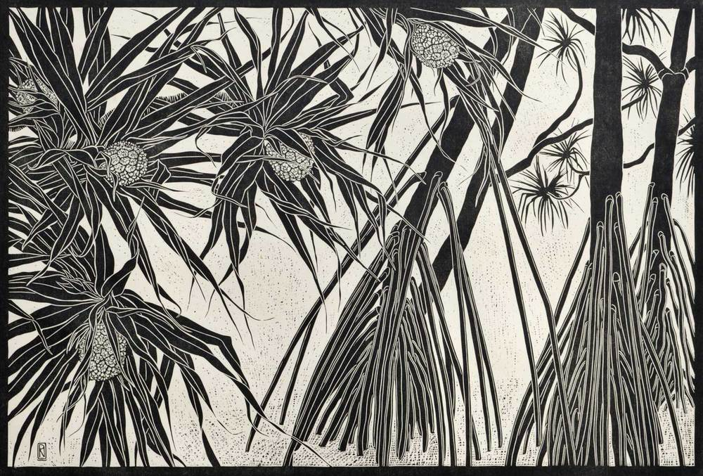 PANDANUS TREES  51 X 81 CM    EDITION OF 50  LINOCUT ON HANDMADE JAPANESE PAPER  $1,150