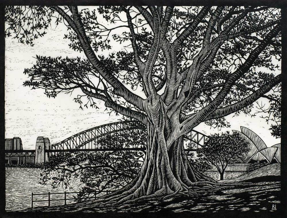 SYDNEY HARBOUR VIEW  42 X 55 CM    EDITION OF 50  LINOCUT ON HANDMADE JAPANESE PAPER  $1,050