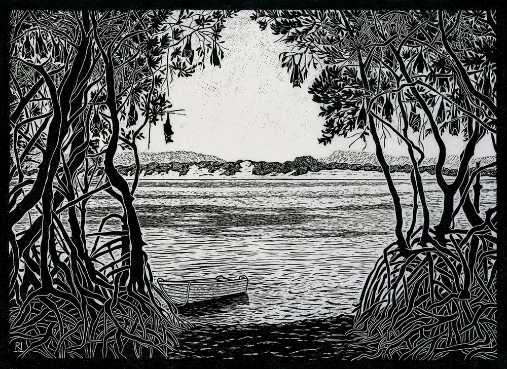 FLYING FOX CAMP ENDEAVOUR RIVER  40 X 54 CM EDITION OF 50  LINOCUT ON HANDMADE JAPANESE PAPER  $950