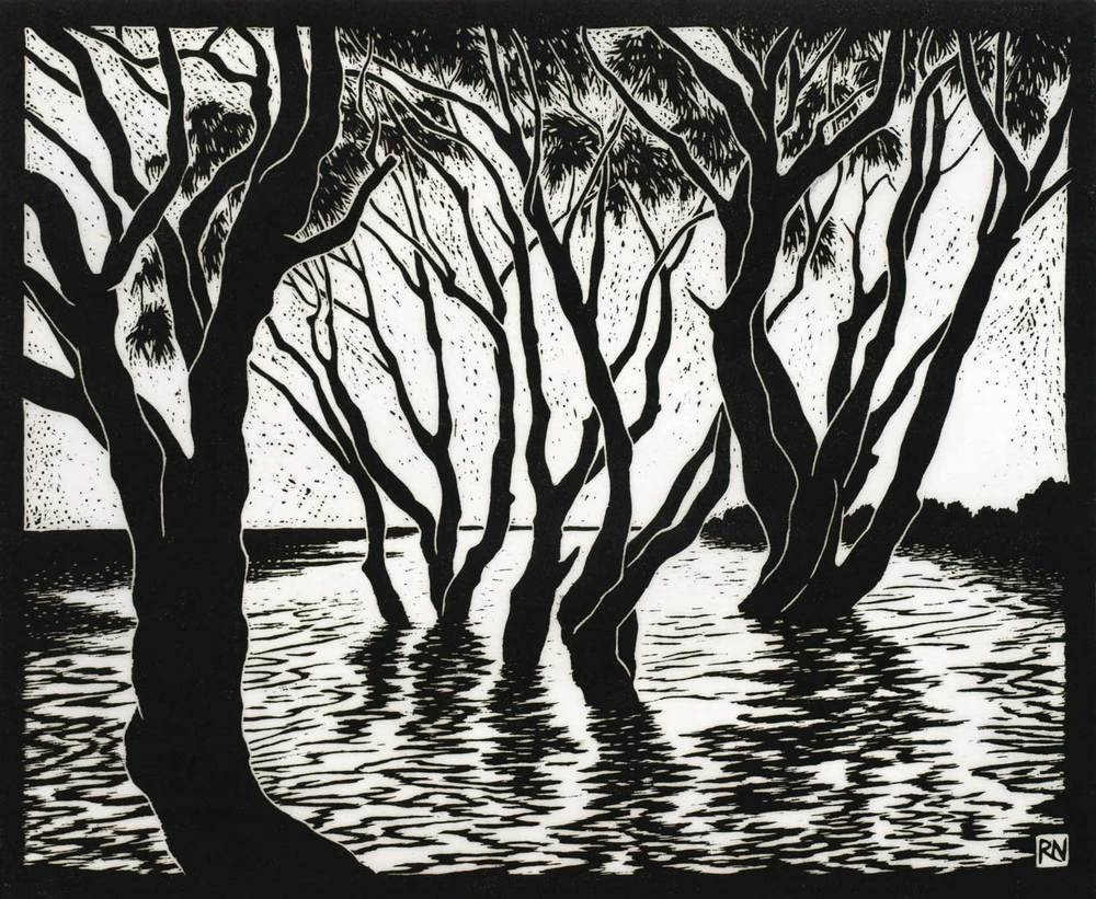 TEA TREES LAKE AINSWORTH  30 X 36.5 CM    EDITION OF 50  LINOCUT ON HANDMADE JAPANESE PAPER  $650