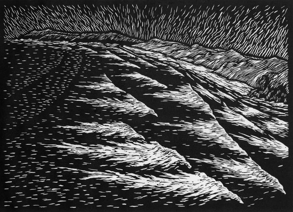 BIG SEA Cornwall  37 X 52 CM EDITION OF 50  LINOCUT ON HANDMADE JAPANESE PAPER  $950