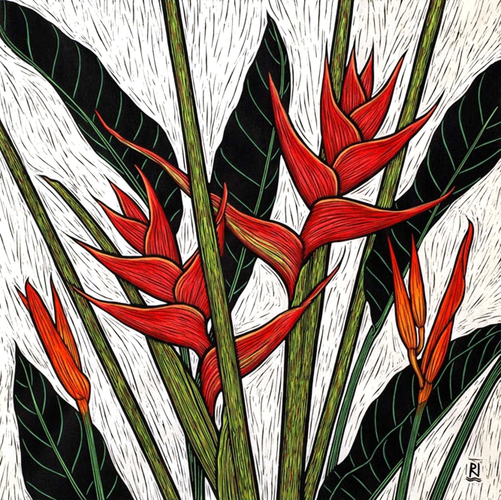 HELICONIA II  51 X 51 CM EDITION OF 50  HAND COLOURED LINOCUT ON HANDMADE JAPANESE PAPER  $1,150