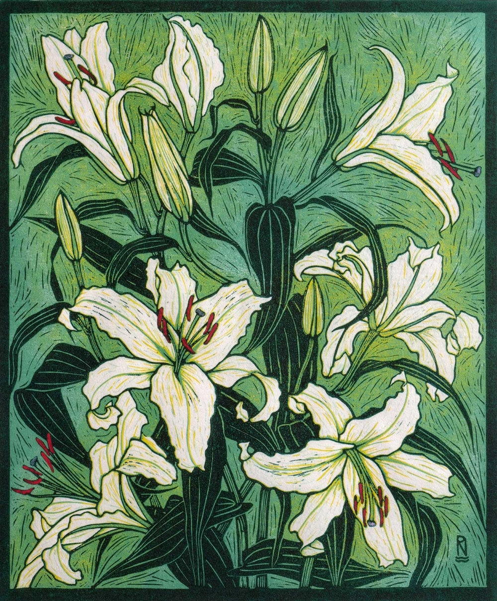 ORIENTAL LILY  53.5 x 44.5 CM    EDITION OF 50  REDUCTION LINOCUT on Japanese paper  $1,250