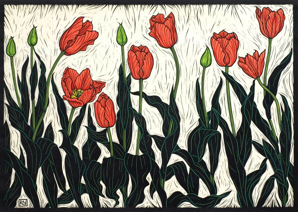 TULIPS  53 X 74 CM    EDITION OF 50  HAND COLOURED LINOCUT ON HANDMADE JAPANESE PAPER  $1,550