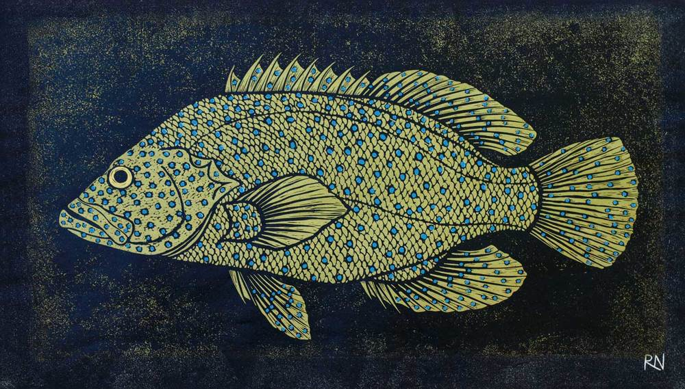 SHOAL III  30 X 52.5 CM EDITION OF 50  HAND COLOURED LINOCUT ON HANDMADE JAPANESE PAPER  $850