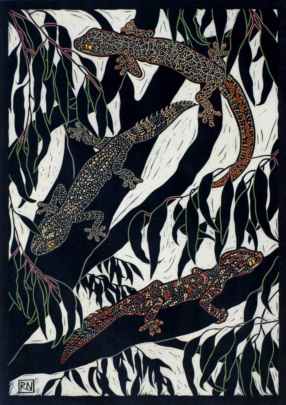 GECKOS  49 X 35.5 CM    EDITION OF 50  HAND COLOURED LINOCUT ON HANDMADE JAPANESE PAPER  $1,050