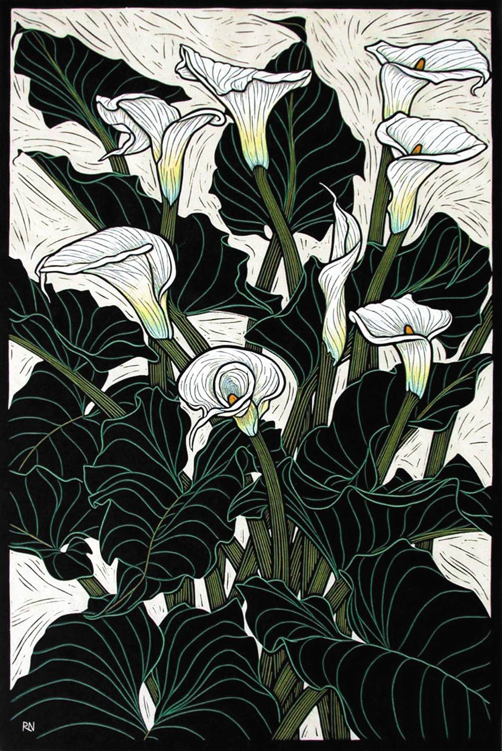 ARUM LILY  74.5 X 50 CM    EDITION OF 50  HAND COLOURED LINOCUT ON HANDMADE JAPANESE PAPER  $1,550