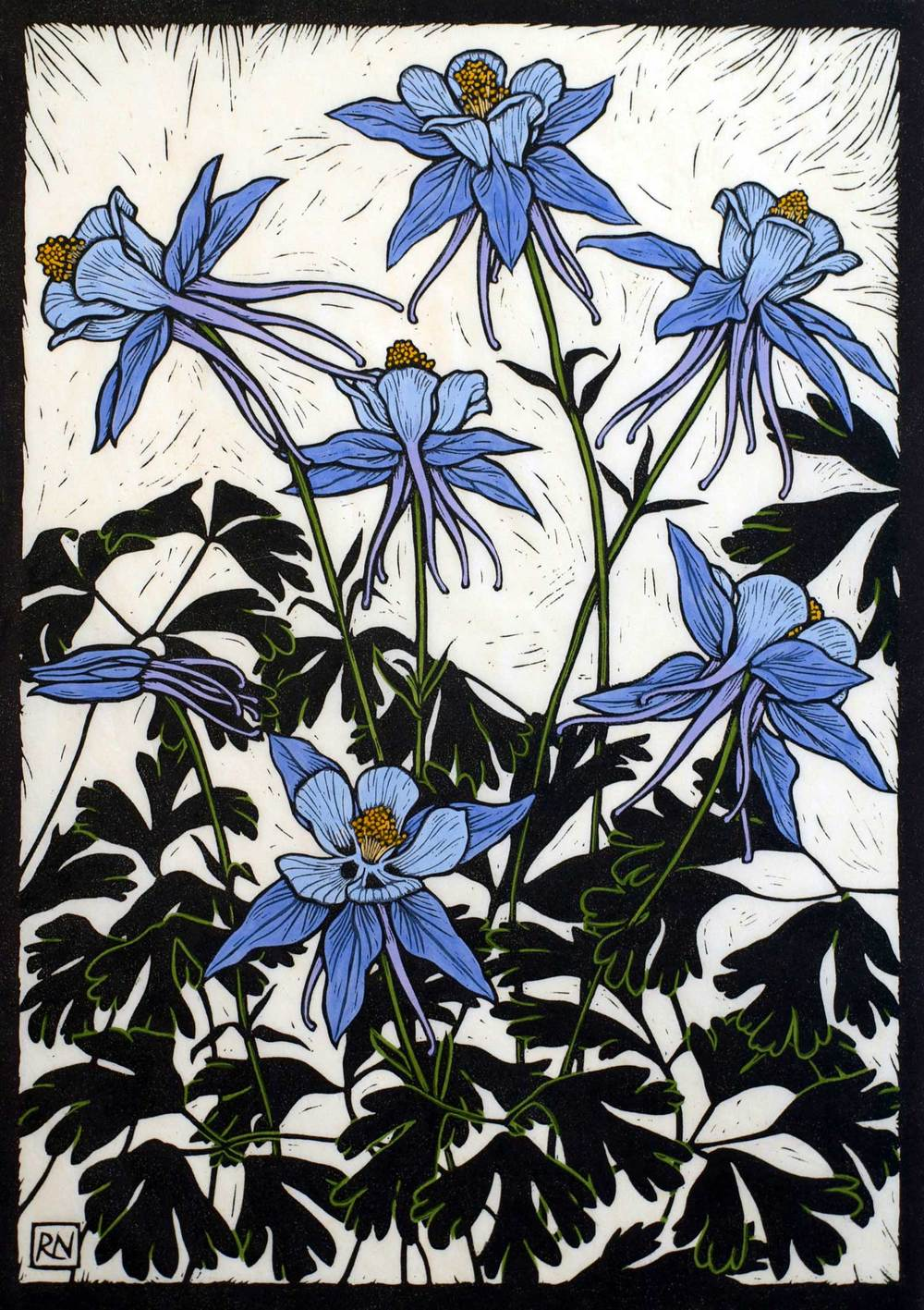 COLUMBINES  49 X 35 CM    EDITION OF 50  HAND COLOURED LINOCUT ON HANDMADE JAPANESE PAPER  $1,050