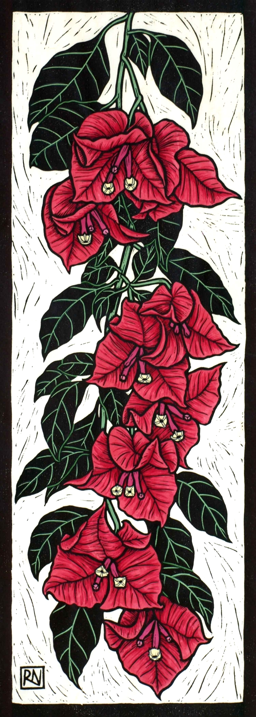 BOUGAINVILLEA                                           50 X 18 CM    EDITION OF 50                   HAND COLOURED LINOCUT ON HANDMADE JAPANESE PAPER                $650