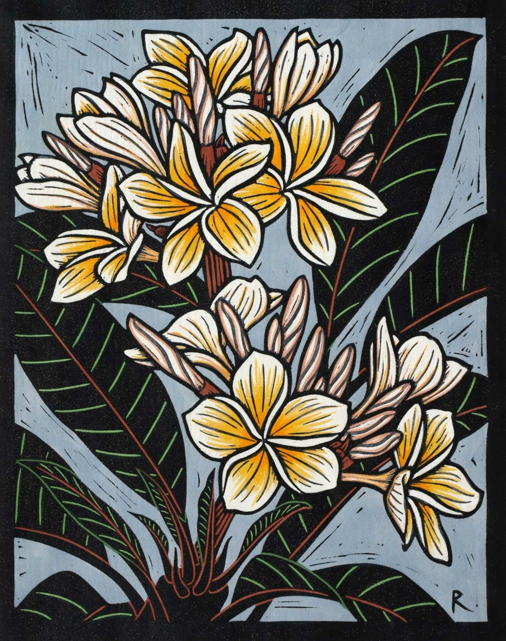 FRANGIPANI II                                             28 X 22 CM    EDITION OF 50                HAND COLOURED LINOCUT ON HANDMADE JAPANESE PAPER             $650