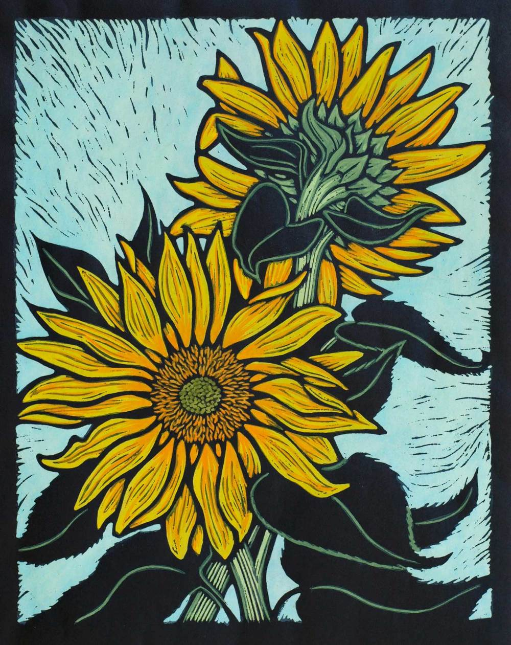 SUNFLOWER                                                   28 X 22 CM    EDITION OF 50                     HAND COLOURED LINOCUT ON HANDMADE JAPANESE PAPER                $650