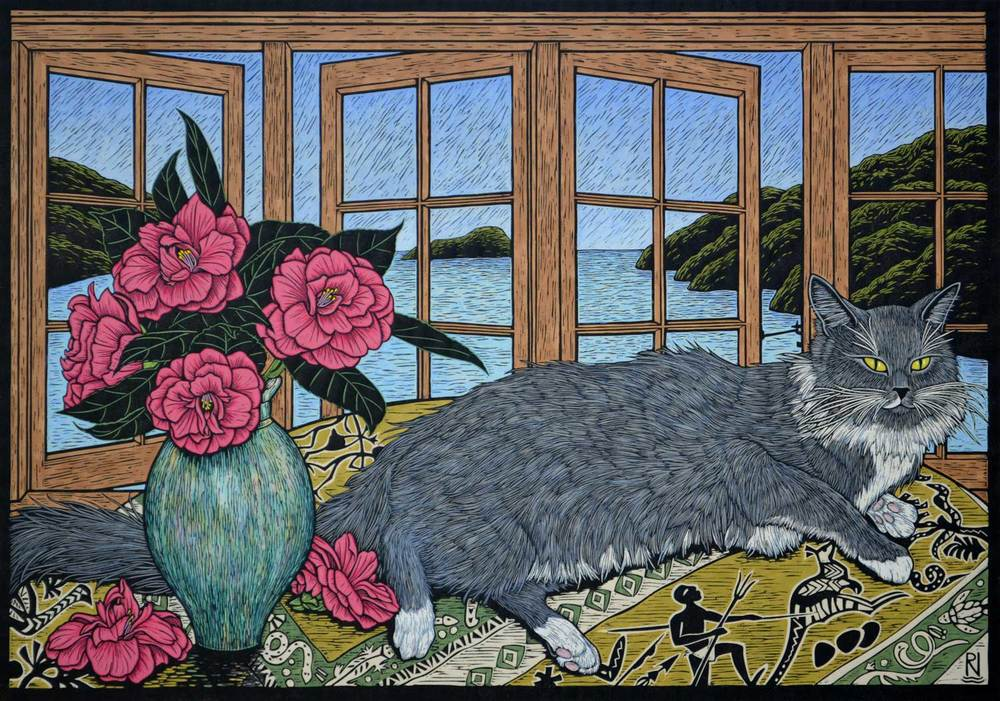 STILL LIFE WITH SQUIRREL 52 X 74.5 CM    EDITION OF 50 HAND COLOURED LINOCUT ON HANDMADE JAPANESE PAPER $1,550
