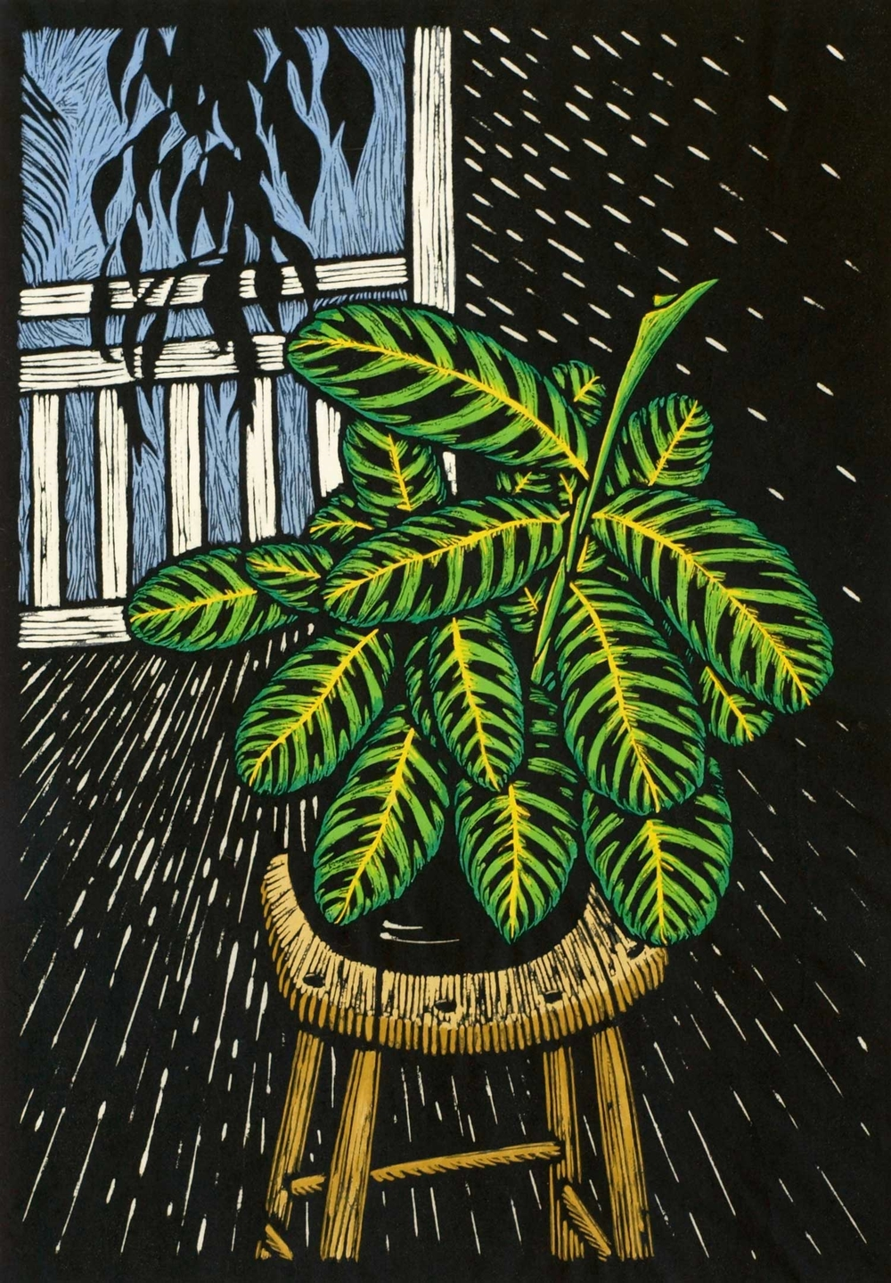 VERANDA LAKE EACHAM HOTEL 43 X 30 CM    EDITION OF 50 HAND COLOURED LINOCUT ON HANDMADE JAPANESE PAPER $750