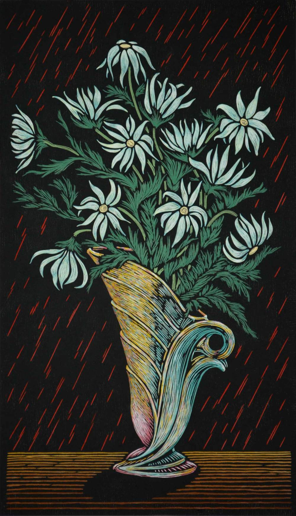 FLANNEL FLOWER IN VASE 75 X 43 CM    EDITION OF 50 HAND COLOURED LINOCUT ON HANDMADE JAPANESE PAPER $1,400
