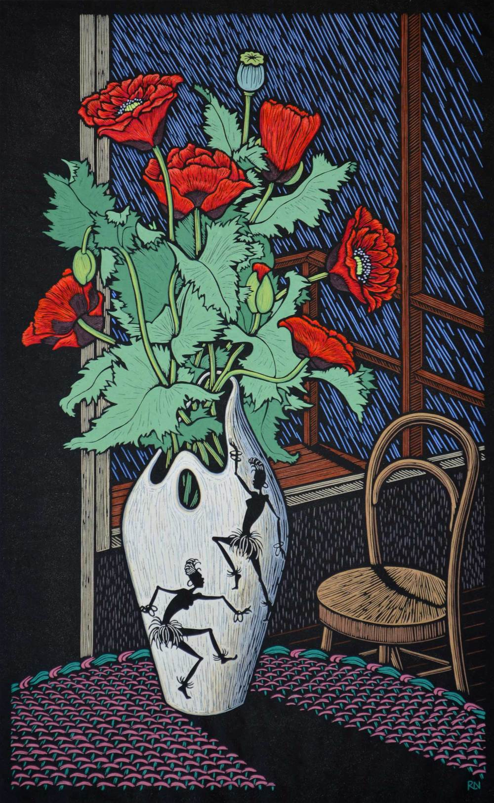 POPPY STILL LIFE 77 X 47.5 CM    EDITION OF 50 HAND COLOURED LINOCUT ON HANDMADE JAPANESE PAPER $1,400