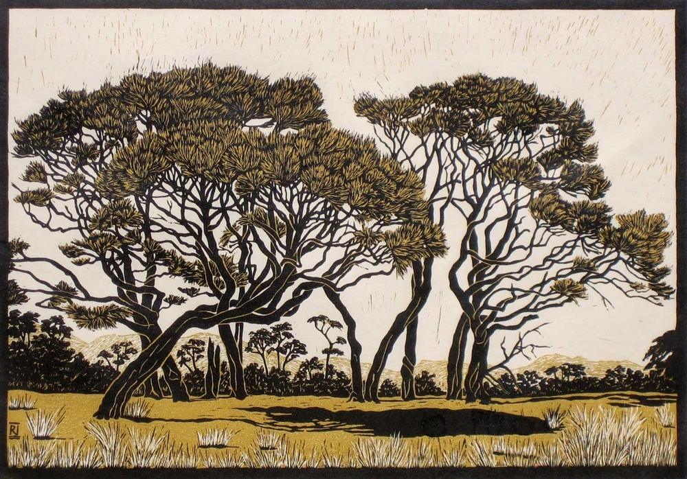 GOLDEN BAY LANDSCAPE  36.5 X 52 CM    EDITION OF 20  REDUCTION LINOCUT ON HANDMADE JAPANESE PAPER  $1,350