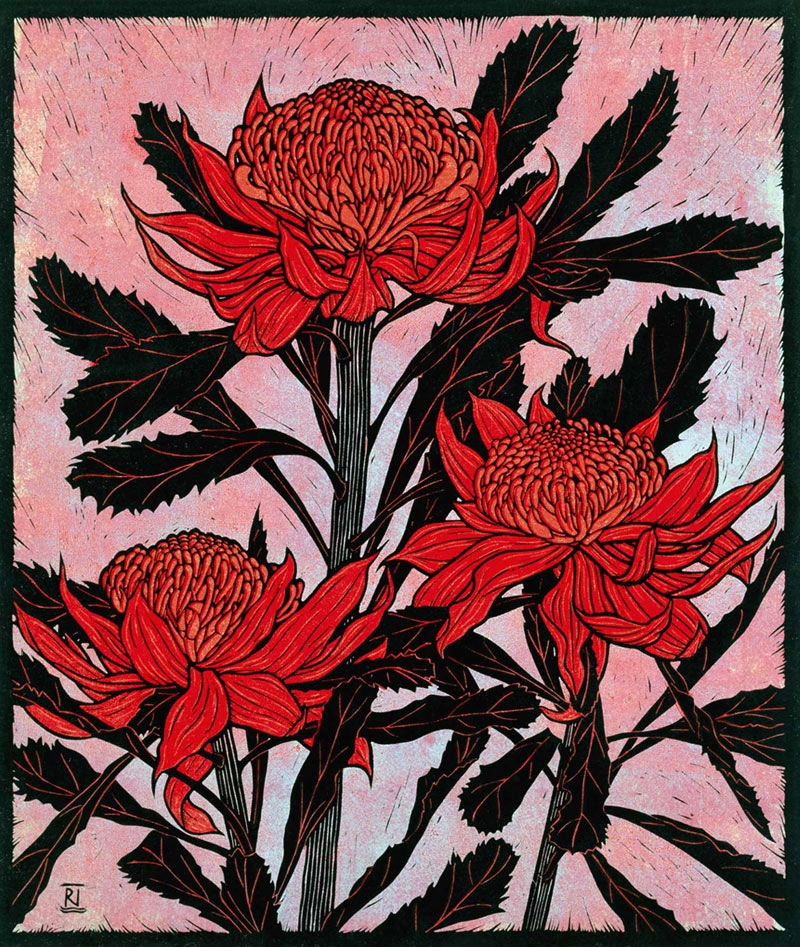 THREE WARATAHS  53 X 45  CM    EDITION OF 50  REDUCTION LINOCUT on japanese paper  $1,250