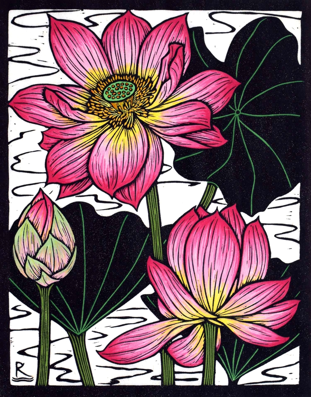 SACRED LOTUS I  28 X 22 CM    EDITION OF 50  HAND COLOURED LINOCUT ON HANDMADE JAPANESE PAPER  $600