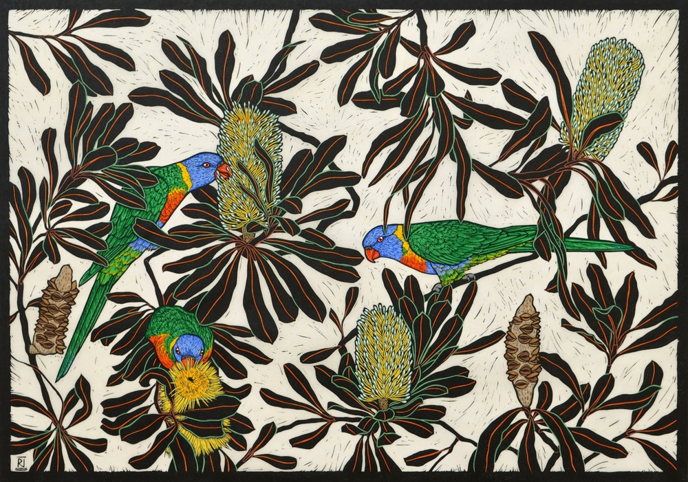 RAINBOW LORIKEET & COAST BANKSIA  53 X 74.5 CM    EDITION OF 50  HAND COLOURED LINOCUT ON HANDMADE JAPANESE PAPER  $1,550