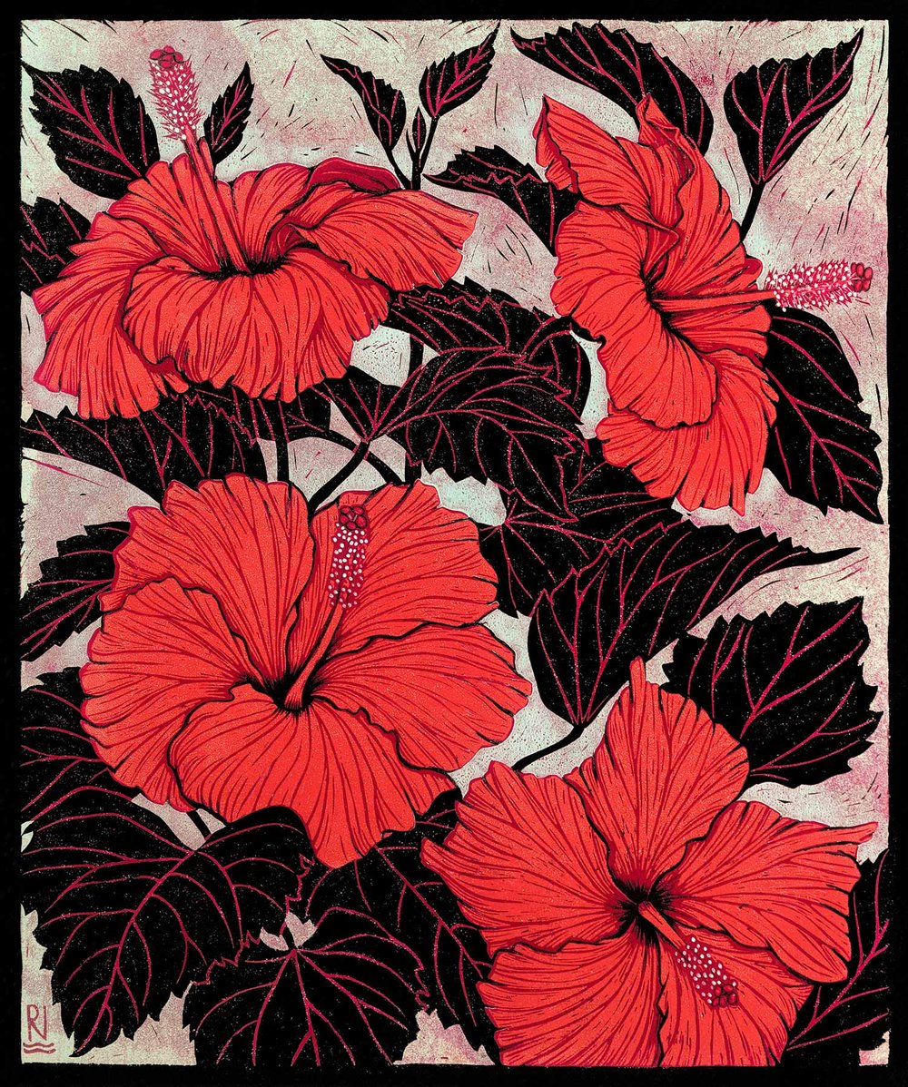 HIBISCUS  42 X 35 CM EDITION OF 50  REDUCTION LINOCUT, pigment print on Japanese paper  $1,100
