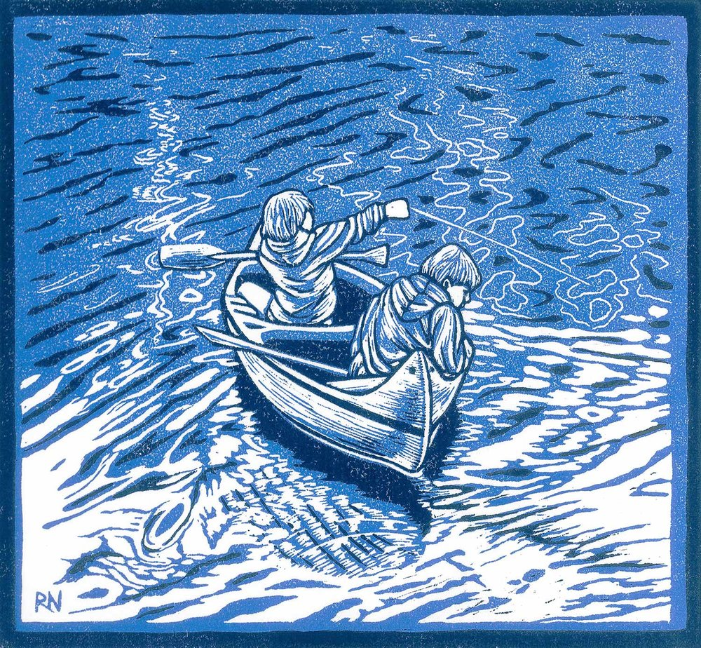 WAITING FOR FISH  26 X 28.5 CM EDITION OF 50  REDUCTION LINOCUT, pigment print ON Unryu JAPANESE PAPER  $750
